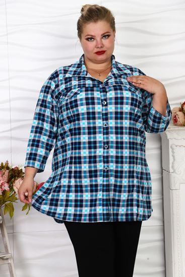 Изображение хб Блуза- рубашка клетка цвет голуб 71-13 г