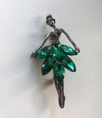 Изображение Бижу Брошь балерина, цвет зеленый 1200