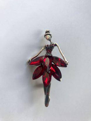 Изображение Бижу Брошь балерина, цвет красный 1200