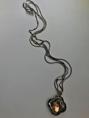 Изображение Бижу Кулон NIUZHUAN 3000 цветок 4 лепества двухсторонний 2 цепи,круглая и плоские элементы