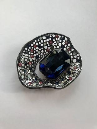 Изображение Бижу Брошь металлич ракушка камень синий