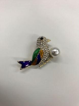 Изображение Бижу Брошь птичка с жемчугом