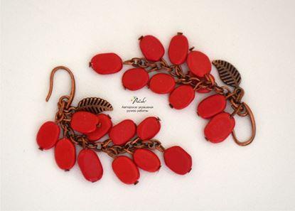 Изображение Серьги-петли грозди с кораллом